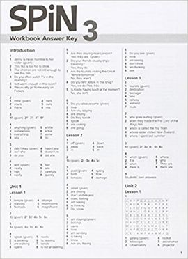 SPIN 3 WORKBOOK ANSWER KEY