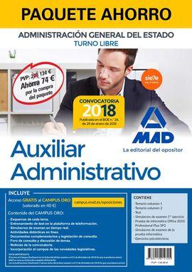 PAQUETE AHORRO AUXILIAR ADMINISTRATIVO DEL ESTADO (TURNO LIBRE). AHORRO DE 74 ?