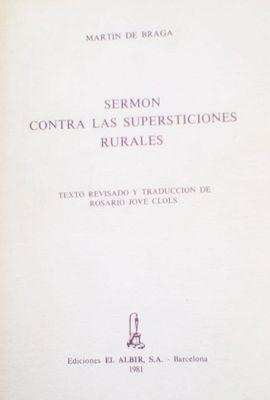 SERMÓN CONTRA LAS SUPERSTICIONES RURALES