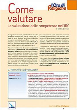 COME VALUTARE. LA VALUTAZIONE DELLE COMPETENZE NELL'IRC (STRUMENTI PER L'IRC)