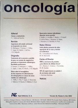 REVISTA ESPAÑOLA DE ONCOLOGÍA AÑO 2003, VOL. 26, NÚMERO 8