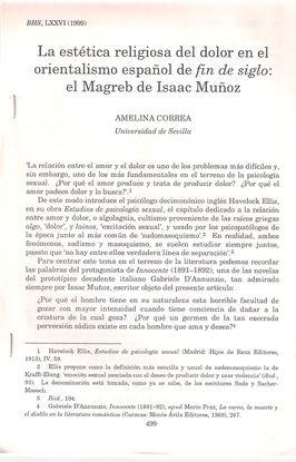LA ESTÉTICA RELIGIOSA DEL DOLOR EN EL ORIENTALISMO ESPAÑOL DE FIN DE SIGLO. EL MAGREB DE ISAAC MUÑOZ. BHS, LXXVI, 1999