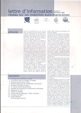 LETTRE D´INFORMATION. NUM. 1, DÉC. 2000. RÉSEAU SUR LES MOBILITÉS EURO-MAROCAINES