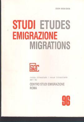 STUDI EMIGRAZIONE. NUM. 96, DICEM.1989. RASSEGNA BIBLIOGRAFICA SULL´EMIGRAZIONE E SULLE COMUNITÀ ITALIANE ALL´ESTERO DAL 1975 AD OGGI