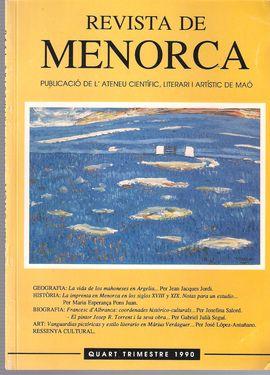 REVISTA DE MENORCA. QUART TRIMESTRE 1990. LA VIDA DE LOS MAONESES EN ARGELIA. UN PUEBLO DE COLONIZACIÓN MAONESA: FORT DE L´EAU (SIC)