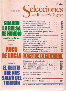 SELECCIONES DEL READER'S DIGEST. MAYO 1980/ LA BOLSA/ PACO DE LUCÍA/ EL DELFÍN/ COLONIZACIÓN ISRAELÍ/ GRAND PRIX-MÓNACO/ MILAGROS DE LA MICROCIRUGÍA/.