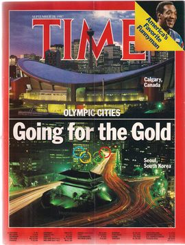 TIME. NUM. 39, SEPTEM. 28, 1987/ OLYMPIC CITIES. GOING FOR THE GOLD/...