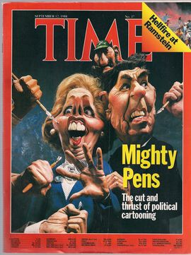 TIME. N. 37, SEPTEMBER 12, 1988/ MIGHTY PENS. THE CUT AND THRUST OF POLITICAL CARTOONING/ HELLFIRE AT RAMSTEIN/...