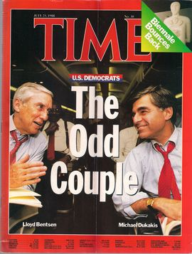 TIME. N. 30, JULY 25, 1988/ U.S. DEMOCRATS. THE ODD COUPLE. LLOYD BENTSEN-MICHAEL DUKAKIS/...