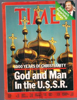 TIME. N. 15, APRIL 11, 1988/ 1000 YEARS OF CHRISTIANITY. GOD AN MAN IN THE U.S.S.R./ JACKSON'S SURPRISING SURGE/...