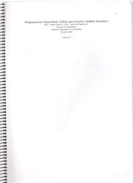PROGRAMACION VISUAL BASIC (VBA) PARA EXCEL Y ANALISIS NUMERICO