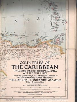 COUNTRIES OF THE CARIBBEAN INCLUDING MEXICO, CENTRAL AMERICA AND THE WEST INDIES 1947 (MAP ONLY)