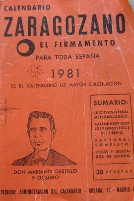 CALENDARIO ZARAGOZANO EL FIRMAMENTO DEL AÑO 1981