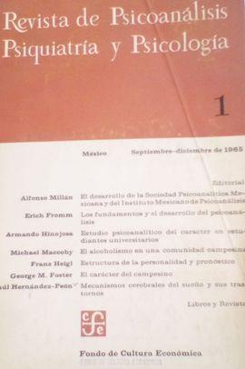 REVISTA DE PSICOANALISIS, PSIQUIATRIA Y PSICOLOGIA. Nº 1. SEPTIEMBRE DICIEMBRE 1965
