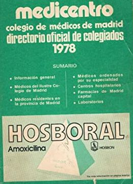 MEDICENTRO 1978. COLEGIO DE MÉDICOS DE MADRID. DIRECTORIO OFICIAL DE COLEGIADOS