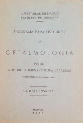 PROGRAMA PARA UN CURSO DE OFTALMOLOGIA (CURSO 1985-57)